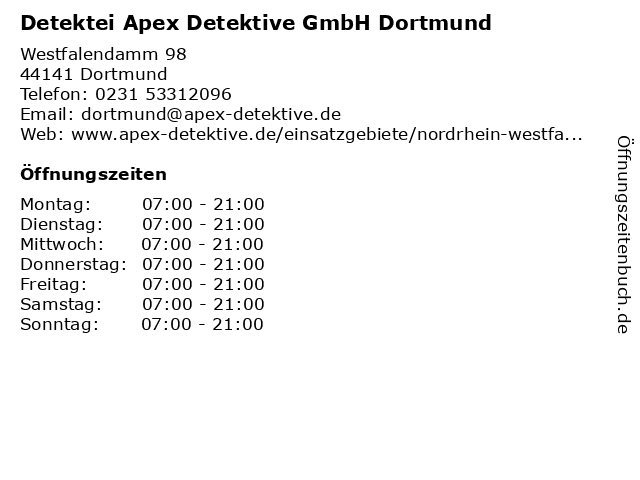 Detektei Apex Detektive GmbH Dortmund in Dortmund: Adresse und Öffnungszeiten