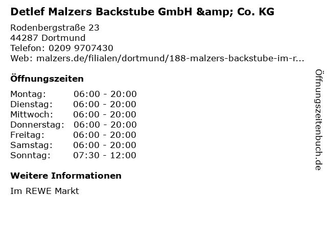 Detlef Malzers Backstube GmbH & Co. KG in Dortmund: Adresse und Öffnungszeiten