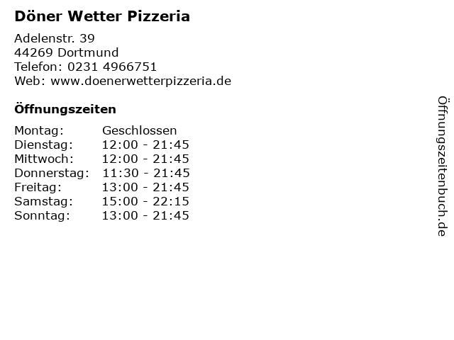 Döner Wetter Pizzeria in Dortmund: Adresse und Öffnungszeiten