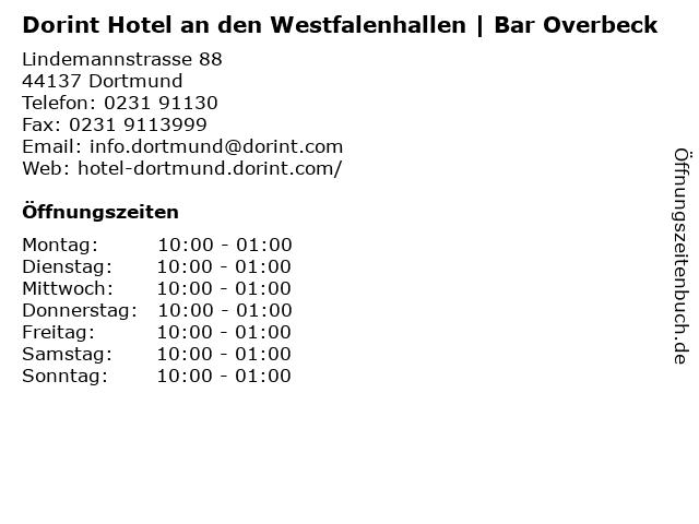 Dorint Hotel an den Westfalenhallen | Bar Overbeck in Dortmund: Adresse und Öffnungszeiten