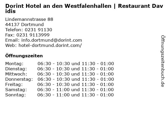 Dorint Hotel an den Westfalenhallen | Restaurant Davidis in Dortmund: Adresse und Öffnungszeiten