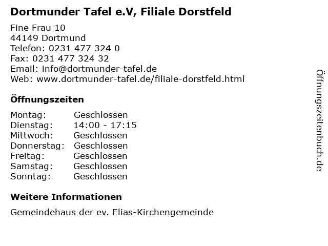 Dortmunder Tafel e.V, Filiale Dorstfeld in Dortmund: Adresse und Öffnungszeiten