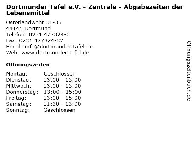 Dortmunder Tafel e.V. - Zentrale - Abgabezeiten der Lebensmittel in Dortmund: Adresse und Öffnungszeiten