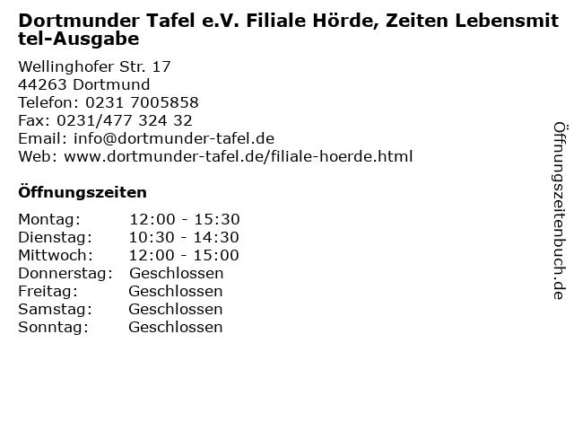 Dortmunder Tafel e.V. Filiale Hörde, Zeiten Lebensmittel-Ausgabe in Dortmund: Adresse und Öffnungszeiten