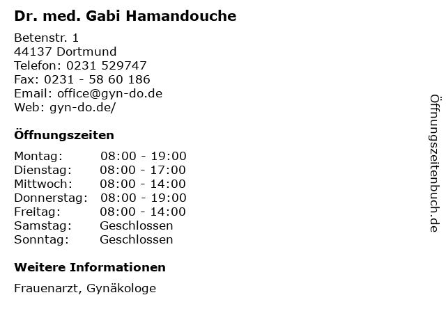 Dr. med. Gabi Hamandouche in Dortmund: Adresse und Öffnungszeiten