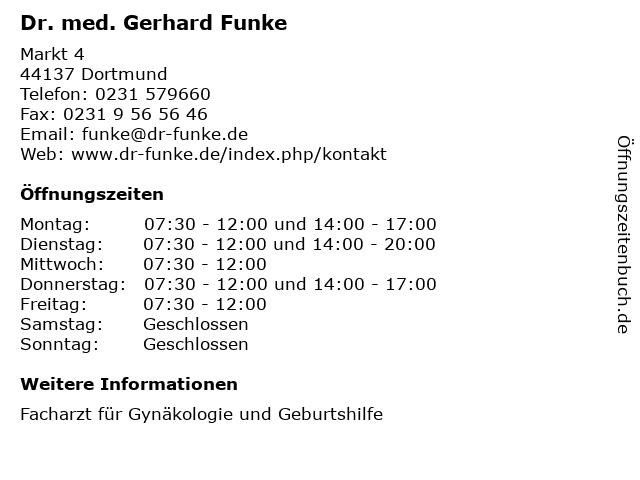 Dr. med. Gerhard Funke in Dortmund: Adresse und Öffnungszeiten