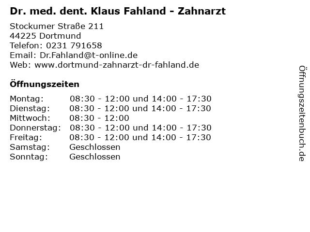 Dr. med. dent. Klaus Fahland - Zahnarzt in Dortmund: Adresse und Öffnungszeiten