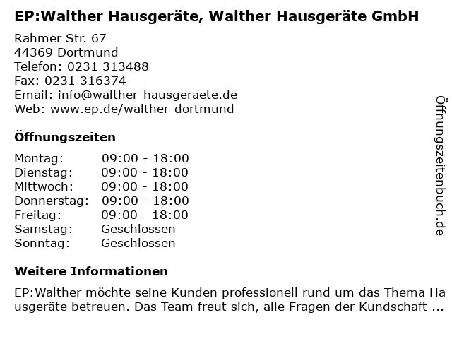 EP: Walther Hausgeräte in Dortmund: Adresse und Öffnungszeiten