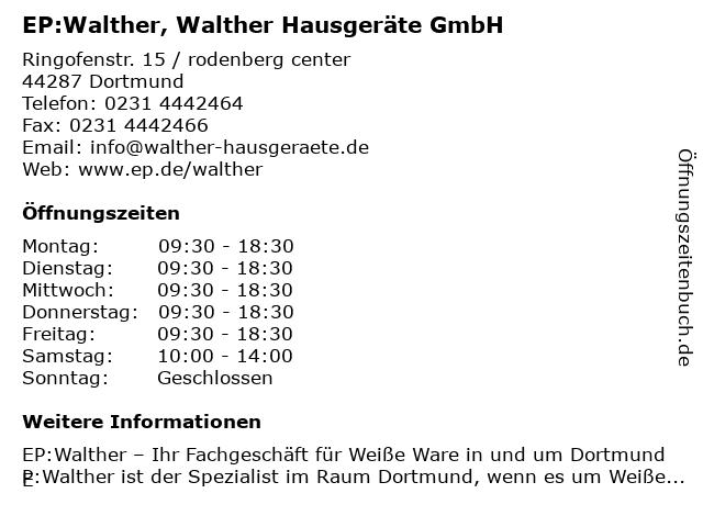 EP:Walther in Dortmund: Adresse und Öffnungszeiten
