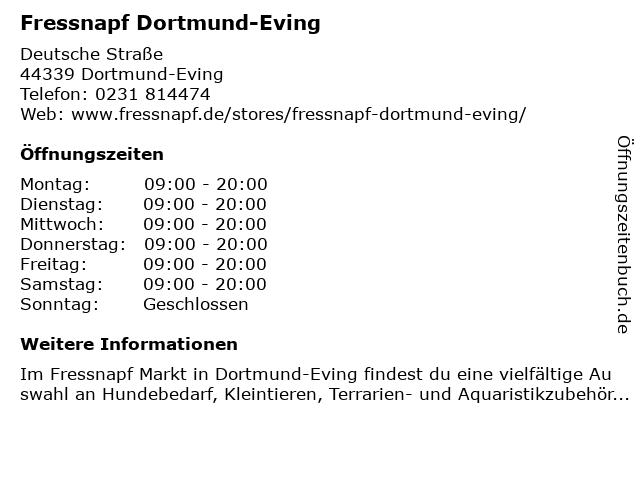 Fressnapf Dortmund-Eving in Dortmund-Eving: Adresse und Öffnungszeiten