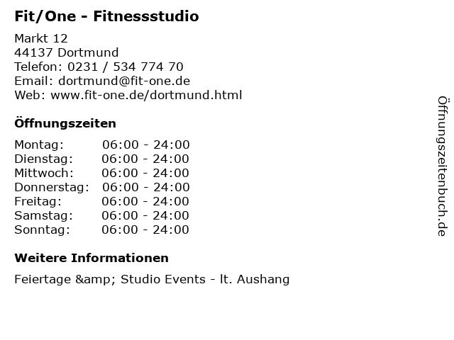 Fit/One - Fitnessstudio in Dortmund: Adresse und Öffnungszeiten