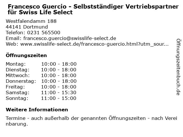 Francesco Guercio - Selbstständiger Vertriebspartner für Swiss Life Select in Dortmund: Adresse und Öffnungszeiten
