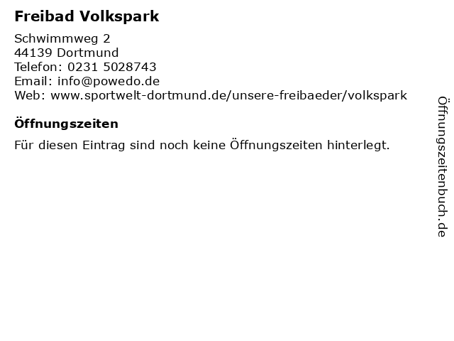 Freibad Volkspark in Dortmund: Adresse und Öffnungszeiten