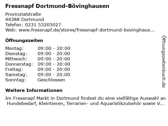 Fressnapf Dortmund-Bövinghausen in Dortmund: Adresse und Öffnungszeiten
