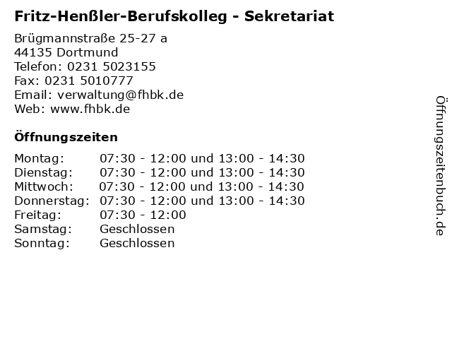 Fritz-Henßler-Berufskolleg - Sekretariat in Dortmund: Adresse und Öffnungszeiten