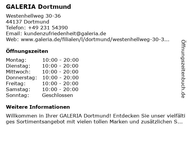 GALERIA (Karstadt) Dortmund Westenhellweg 30-36 in Dortmund: Adresse und Öffnungszeiten
