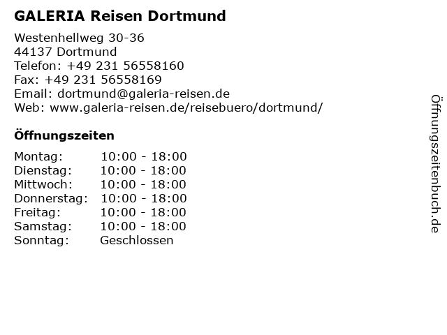 GALERIA Reisen Dortmund in Dortmund: Adresse und Öffnungszeiten