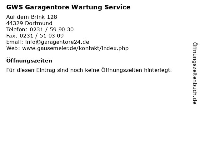 GWS Garagentore Wartung Service in Dortmund: Adresse und Öffnungszeiten