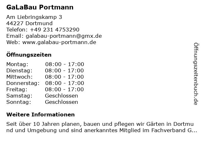 GaLaBau Portmann in Dortmund: Adresse und Öffnungszeiten