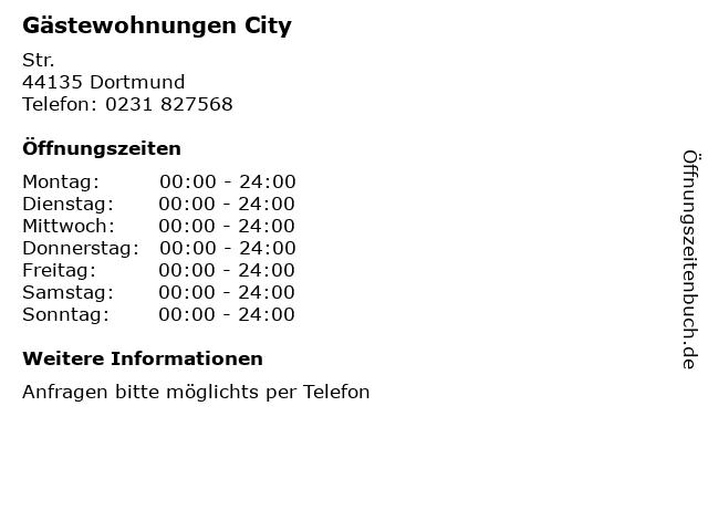 Gästewohnungen City in Dortmund: Adresse und Öffnungszeiten