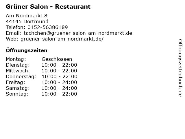 Grüner Salon - Restaurant in Dortmund: Adresse und Öffnungszeiten