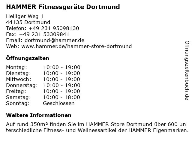 HAMMER Fitnessgeräte Dortmund in Dortmund: Adresse und Öffnungszeiten