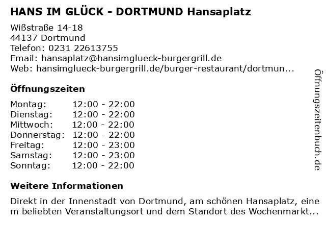 HANS IM GLÜCK Burgergrill & Bar in Dortmund: Adresse und Öffnungszeiten