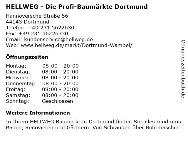 HELLWEG - Die Profi-Baumärkte Dortmund-Wambel in Dortmund: Adresse und Öffnungszeiten