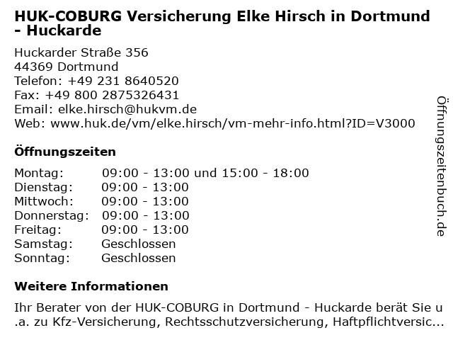 ᐅ Offnungszeiten Huk Coburg Versicherung Elke Hirsch In