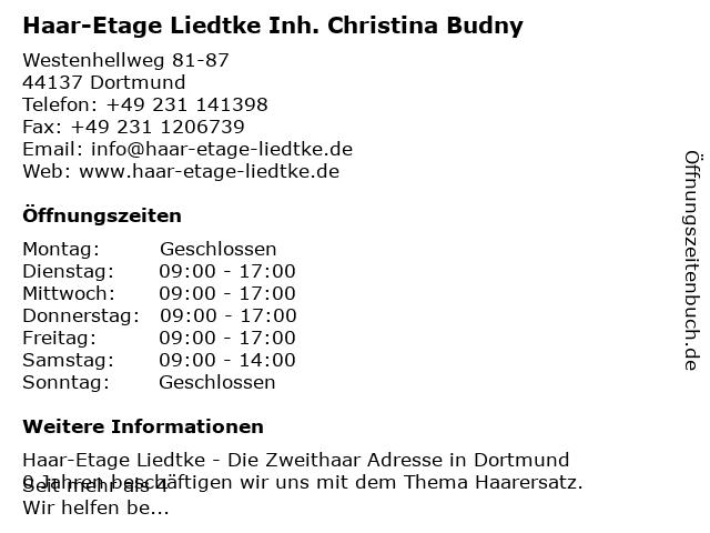 Haar-Etage Liedtke Inh. Christina Budny in Dortmund: Adresse und Öffnungszeiten