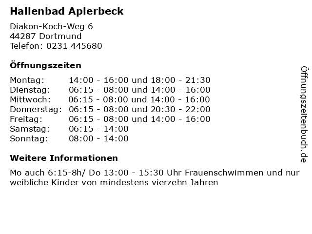 Hallenbad Aplerbeck in Dortmund: Adresse und Öffnungszeiten