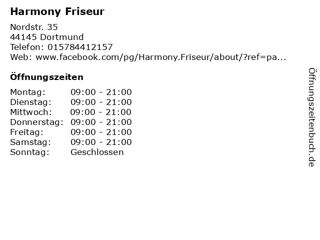 Harmony Friseur in Dortmund: Adresse und Öffnungszeiten