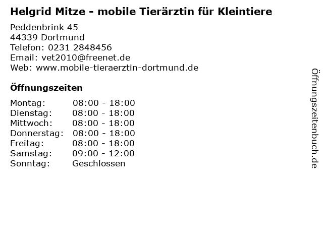 Helgrid Mitze - mobile Tierärztin für Kleintiere in Dortmund: Adresse und Öffnungszeiten