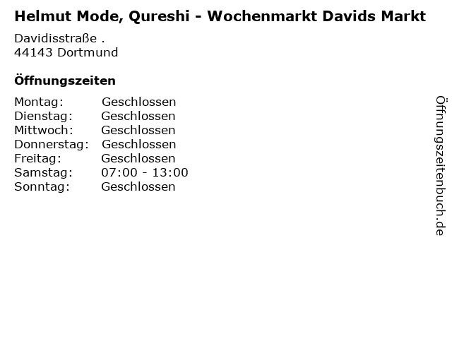 Helmut Mode, Qureshi - Wochenmarkt Davids Markt in Dortmund: Adresse und Öffnungszeiten