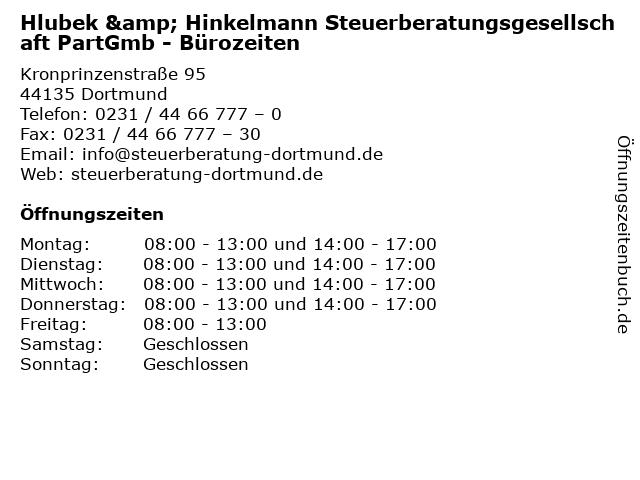 Hlubek & Hinkelmann Steuerberatungsgesellschaft PartGmb - Bürozeiten in Dortmund: Adresse und Öffnungszeiten