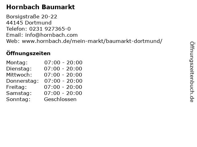 Hornbach Baumarkt in Dortmund: Adresse und Öffnungszeiten