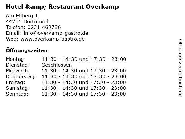 Hotel & Restaurant Overkamp in Dortmund: Adresse und Öffnungszeiten
