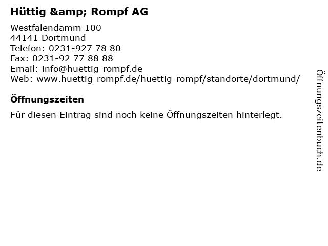 Hüttig & Rompf AG in Dortmund: Adresse und Öffnungszeiten