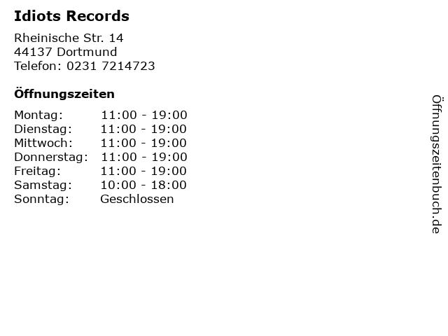 Idiots Records in Dortmund: Adresse und Öffnungszeiten