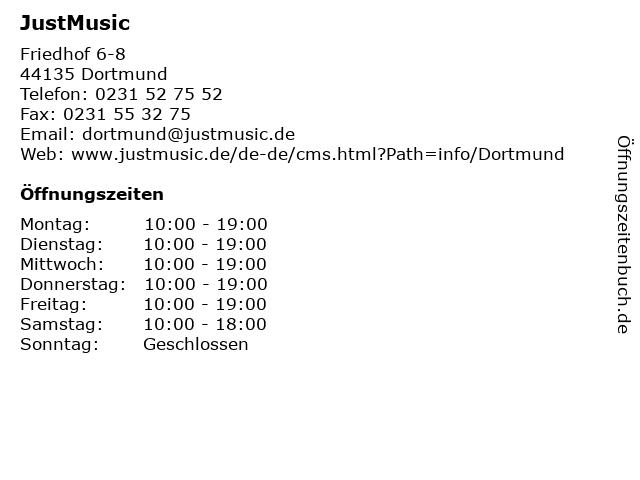 JustMusic in Dortmund: Adresse und Öffnungszeiten