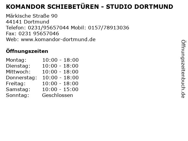 KOMANDOR SCHIEBETÜREN - STUDIO DORTMUND in Dortmund: Adresse und Öffnungszeiten