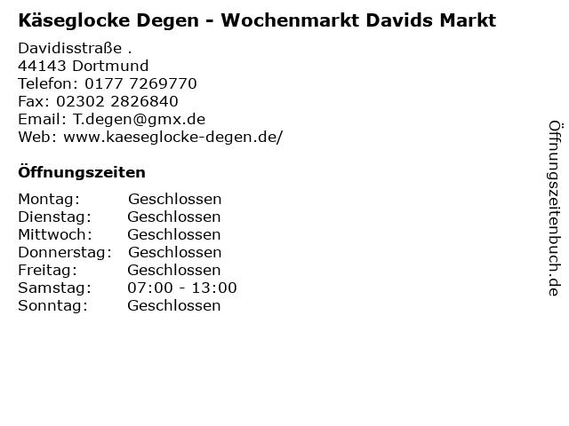 Käseglocke Degen - Wochenmarkt Davids Markt in Dortmund: Adresse und Öffnungszeiten