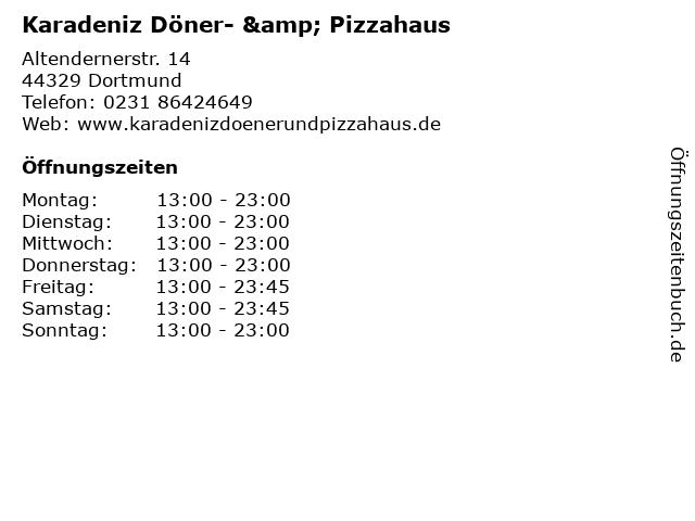 Karadeniz Döner- & Pizzahaus in Dortmund: Adresse und Öffnungszeiten
