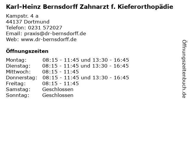 Karl-Heinz Bernsdorff Zahnarzt f. Kieferorthopädie in Dortmund: Adresse und Öffnungszeiten