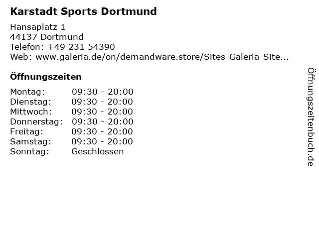Karstadt Sports Dortmund in Dortmund: Adresse und Öffnungszeiten