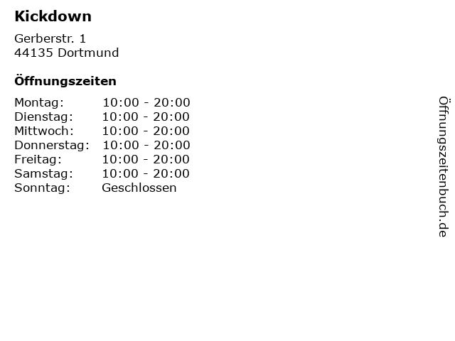 Kickdown in Dortmund: Adresse und Öffnungszeiten