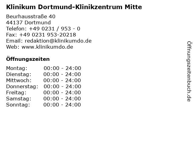 Klinikum Dortmund-Klinikzentrum Mitte in Dortmund: Adresse und Öffnungszeiten