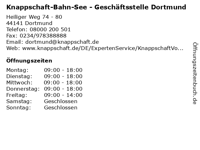 Knappschaft-Bahn-See - Geschäftsstelle Dortmund in Dortmund: Adresse und Öffnungszeiten