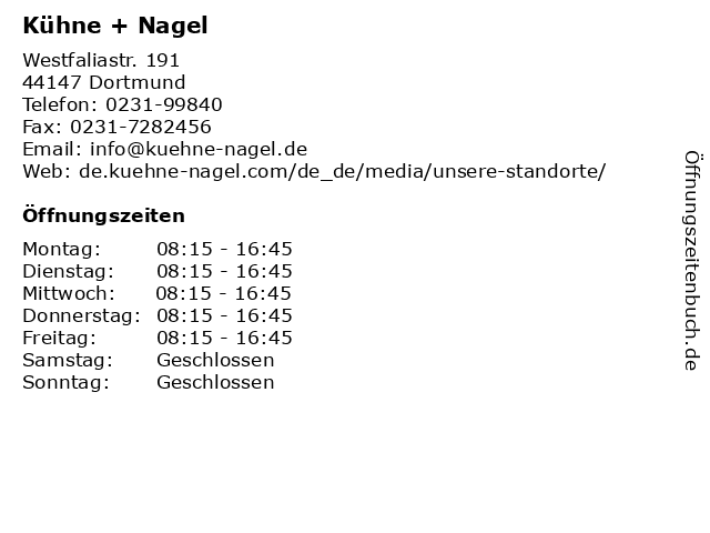 Kühne + Nagel in Dortmund: Adresse und Öffnungszeiten