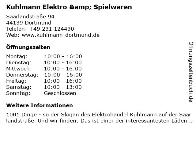 Kuhlmann Elektro & Spielwaren in Dortmund: Adresse und Öffnungszeiten